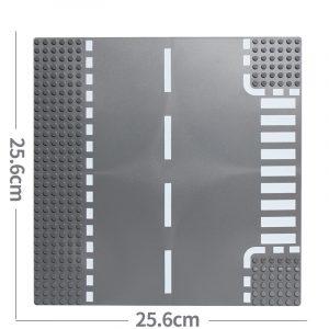 City Road Street Baseplate Compatible LegoINGlys Block Straight Crossroad Curve T Junction DIY Building Blocks Parts