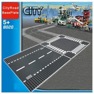 City Road Street Baseplate Compatible LegoINGlys Block Straight Crossroad Curve T Junction DIY Building Blocks Parts