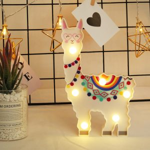 Color Graffiti Night Light Animal Shape Alpaca Modeling Lamp LED Decorative Hanging Lamp luminaria For Home