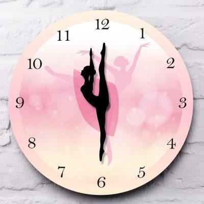 Girl Bedroom Decor Ballet Girl Princess Pink Wall Clock Baby Girl Dancing Wall Clock Ballerina Moving